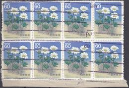 GIAPPONE - 1985 - Lotto Composto Da 16 Valori Usati: Yvert1547 E 1548 A Gruppi Di 8 Uniti Su Frammento Di Busta - 1926-89 Emperador Hirohito (Era Showa)