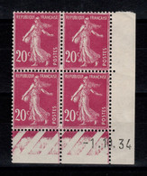 Coin Daté - YV 190 N** Semeuse Du 1.10.34 - Ecken (Datum)