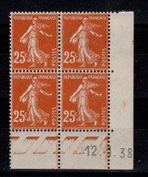 Coin Daté - YV 235 N** Semeuse Du 12.1.38 - Ecken (Datum)