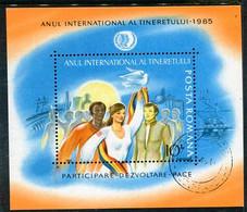 ROMANIA 1985 International Youth Year Block Used   .  Michel Block 214 - Usati
