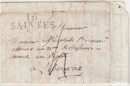 """FRANCE : MP . """" 16 SAINTES """" . POUR LIBOURNE . ADRESSEE A Mr DE BREMOND D'ARS . 1813.TAXEE . - 1801-1848: Voorlopers XIX"""