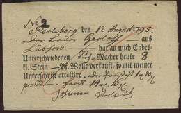 1795 Perleberg  Quittung über Verkauf  8 Kl.Stein Wolle Verkauft-Unterschrift 3 Kreuze - Historical Documents