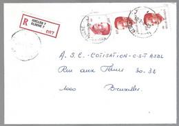 Cob  2136 X 2  +2203 Roi Baudouin Sur Lettre Recommandé Ixelles-Elsene - 1981-1990 Velghe