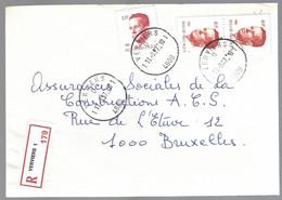 Cob  2136 X 2  +2203 Roi Baudouin Sur Lettre Recommandé  Verviers - 1981-1990 Velghe