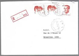 Cob  2136 X 2  +2203 Roi Baudouin Sur Lettre Recommandé  UCCLE-UKKEL - 1981-1990 Velghe