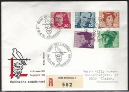Suisse Yv 841/45 Personnages,sur Lettre  Regiophil VIII  19-21-6-1970 Recommandé De Bellinzona - Svizzera