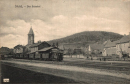 Saal Saales Bahnhof Mit Eisenbahn Kanton Mutzig Bas Rhin Um 1915 - Mutzig