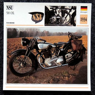 Collection Fiches ATLAS - MOTO - NSU 500 OSL - 1934 - Other