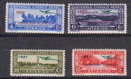 Guatemala 1937 Poste Aerienne Yvert 54 55 60 61 ** Neufs Sans Ch. Quetzal En Sucharge Vert Et Exposicion Filatelica - Guatemala
