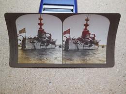 Photo Stéréoscopique Navire De Guerre, L'Orégon Le Cuirassé Le Plus Célèbre Au Monde - Stereo-Photographie