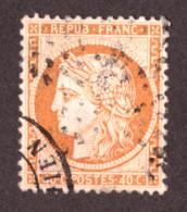 Cérès N° 38 Orange Terne- Oblitération CàD + étoile - 1870 Beleg Van Parijs