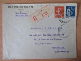 France - Recommandé Banque De France - Paris / Versailles - Timbres YT N°235 Et 288 - 1937 - 1921-1960: Moderne