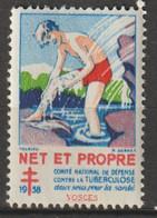 """FRANCE : Timbre Antituberculeux 1938 ** - Comité National De Défense Contre La Tuberculose - Net Et Propre"""" - Tegen Tuberculose"""