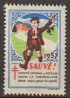 """FRANCE : Timbre Antituberculeux 1937 ** - Comité National De Défense Contre La Tuberculose _ Sauvé"""" -1111111111111111111 - Tegen Tuberculose"""
