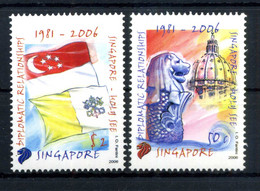 EMISSIONE CONGIUNTA Vaticano - 2006 SINGAPORE SET MNH ** 25° Anniversario Delle Relazioni Con Singapore - Errors & Oddities
