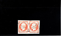 FRANCE NAPOLEON III   PAIRE DE 40 C   ORANGE     N°16   I° CHOIX - 1853-1860 Napoleon III