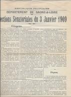 SFIO ELECTIONS SENATORIALES 3 JANVIER 1909 - CHAMBOSSE CHANUT LARDY ... AFFICHETTE SAONE ET LOIRE - Documentos Históricos