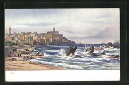 Künstler-AK Jaffa, Ortsansicht Mit Strand - Palästina
