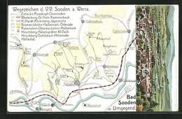 Lithographie Bad Sooden, Panorama, Landkarte Mit Rosskopf, Jagdhaus Und Riedbachtal - Chasse