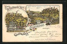 Lithographie Isenburg, Gasthaus, Panorama Mit Kirche, Jagdschloss Sayneck Und Bur - Chasse