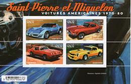 Saint-Pierre-et-Miquelon 2020 - Voitures Americaine - Corvette-Mustang-Firebird-Camaro -  4v Bloc Neuf/Mint/MNH - Automobili