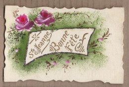 CPA PRENOM FEMME - JEANNE - Carte Peinte Paillettes - Firstnames