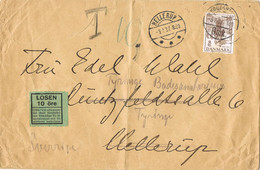 37874. Carta KOBENHAVN (Danmark) 1937 To Hellerup. TAXE, Tasada. Viñeta Label 10 öre - Briefe U. Dokumente