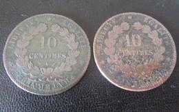 Achat Immédiat - France - 2 Monnaies 10 Centimes Cérès 1880 A Et 1897 A - France