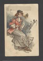 Themes Div-ref FF856-carte Avec Veritables Paillettes -illustrateur -femme Et Clairon -prenom Maria En Paillettes Dorées - Firstnames