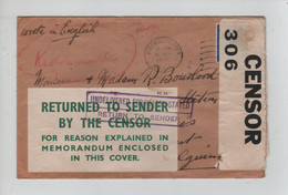 632PR/ UK WWII Cover Kidderminster 1939 Opened By Censor 306 P.C.66 Label Returned To Send By The Censor > Belgium - Non Classificati