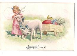 Fantaisie: Joyeuses Pâques, Enfant Avec Des Agneaux. - Postales