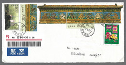 China Yv  3533 Phare+ 2 Timbres Du BF 101 Expo Philatélique+3771 Festival S/lt Recommandé Vers Belgique - 1949 - ... République Populaire