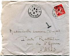 FRANCE LETTRE DEPART AIRAINES ?-9-41 SOMME TAXEE EN POSTE RESTANTE A PARIS - 1939-44 Iris