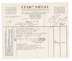 Facture 1925 étalages Vitrines Etablissements Siégel, 19 Rue Réaumur, Paris - Frankreich