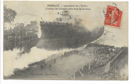 33-BORDEAUX-Lancement Du Vérité - L'Arrière Du Cuirassé Entre Dans La Garonne...1907  Animé - Bordeaux