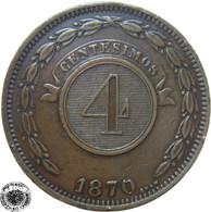 LaZooRo: Paraguay 4 Centesimos 1870 XF - Paraguay