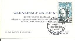 FDC 0.30 + 0.10 Gustave Charpentier 2 Juin 1962 Dieuze - 1960-1969