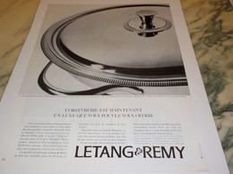 ANCIENNE PUBLICITE ORFEVRERIE LETANG REMY 1967 - Advertising