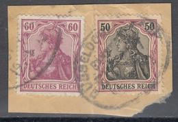 Deutsches Reich Mi. 92 I + 91 Briefstück Bahnpoststempel Gepr, Jäschke Lantelme - Briefe U. Dokumente