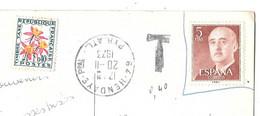 CPA . ENVOYE DE HENDAYE.  AVEC UN TIMBRE ESPAGNOLE TAXE 0.40.  BE SCAN - Lettres Taxées