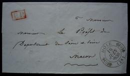 Dole 1836 Cachet Type 11, Lettre En Port Payé Pour Le Préfet De Saône Et Loire à Mâcon, Sans Correspondance - 1801-1848: Precursores XIX