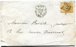 FRANCE LETTRE AFFRANCHIE AVEC LE N°28B OBL. ETOILE 28 DEPART PARIS 10 JUIN 70 R. CARDINAL-LEMOINE POUR LA FRANCE - 1849-1876: Klassik