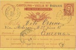 Cartolina Vaglia PORODENONE TERAMO GIULIANOVA  ANCONA 1893 ITALIE ITALIA - Entiers Postaux