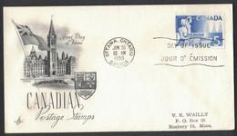 LA55   CANADA FDC 50th Anniversary Alberta Saskatchewan Ottawa 30 10 1955 - 1952-1960