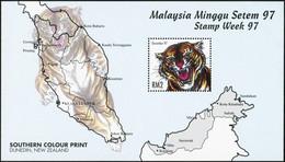 MALAYSIA 1997 Stamp Week Tiger Tigers Wild Cats Of Prey Animals Fauna MNH - Raubkatzen