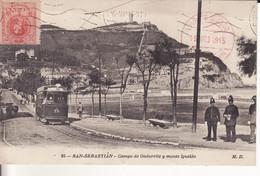 SAN SEBASTIAN -1915 - Campo De Ondarrite Y Monte Igueldo - Tramway - - Guipúzcoa (San Sebastián)