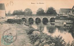52 Humes Riviere La Mouche Pont Cachet Rond Perlé Tireté Oblitération Humes 1905 - France
