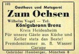 1 Altes Gasthausetikett, Gasthaus Und Metzgerei Zum Ochsen, Wilhelm Vogel, Königsbronn/Brenz #1023 - Matchbox Labels