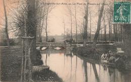 52 Longeville Sur Aine Le Pont Du Plessis Sur L' Aine Lavandiere Lavandieres Femme Faisant Lessive Main Cachet Perlé - France