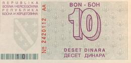 Bosnia 10 Dinara, P-21 (1.8.1992) - UNC - Serie AA - Bosnia Erzegovina